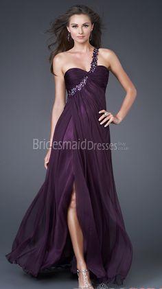 Grape Velvet Chiffon A-line One Shoulder Bridesmaid Dresses(UKJT03-038) - BridesmaidDressesBuy.co.uk