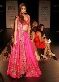 Ileana D'Cruz Super Sexy Skin Show In Pink Lehenga Choli At Lakme Fashion Week Winter Festive 2014 Day 6 ★ Desipixer  ★
