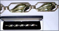 Vintage 14K Rose & Green Gold ~ Leaf Design ~ 7 1/2 in ~ Bracelet #Handmade #Link