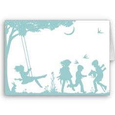 Silhouette of Children Playing Greeting Card