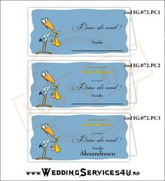 Place Card – Plic de Bani, Meniu, Nr. Masa | Model IG072 - cu Barza Seria Baby DELIVERY