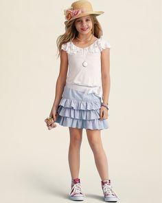 Ralph Lauren Childrenswear Girls' Flutter Sleeve Top & Seersucker Skirt - Sizes 7-16 | Bloomingdale's