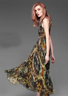 Party Kleid Maxikleid aus Seide NQ2174