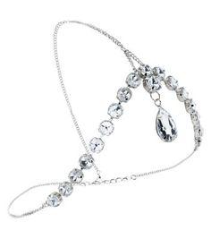 Silver Teardrop Stone Tikka Head Chain