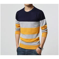 Cheap sweater school, Buy Quality sweater hanger directly from China sweater garments Suppliers: Sweater Men Casual Sweaters Mens O-Neck Knit Warm Pullover masculino sueter Pull homme jersey Plus size Male Polo Sweater Mens Winter Sweaters, Casual Sweaters, Casual Shirts, Striped Sweaters, Striped Knit, Striped Style, Navy Style, Warm Sweaters, Pullover Mode