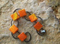 New to GlassCat on Etsy: Orange Fused Glass Bracelet Dichroic Fused Glass Link Bracelet Orange Sparkle Bracelet (36.00 USD)