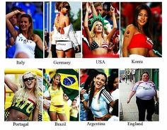 Women fans all around the world versus English woman fan... #WorldCup