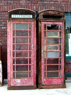 Old Telephone Booths in Cawker City, KS - Biking Across Kansas 2008