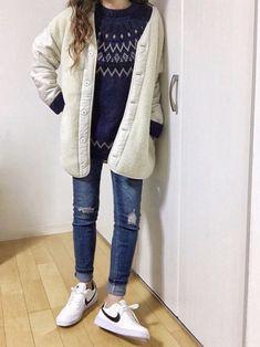 冬のネイビー&ホワイト♡♪♪ この2wayのライナーコート軽いし暖かいです そして ボアにした時