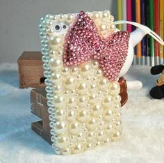 3D Pink bow knot Beige Gem DIY for cell Phone iPhone 4 4S 5 Case - Deco Kit | eBay