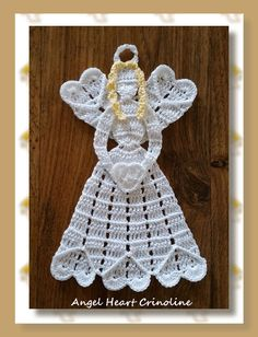 I hope you enjoy working up this little angel crinoline for Valentines.  She boasts plenty of hearts and she's petite enough to be a bookmark or even adorn your fridge.  She could very well be holding your heart in her hands...  please see information below for any questions you may have!
