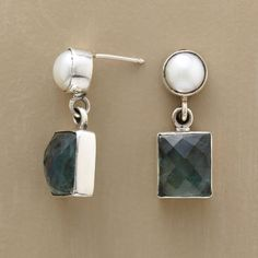 """ILYANA EARRINGS--Faceted apatite chunks are substantial companions to plump cultured pearls. Window bezels, links and posts in polished sterling silver. 1-1/8""""L."""