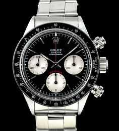 Paul Newman Daytona #2: Black Dial with silvered sub dials[Rolex Reference 6263: 37mm Manual Wind]