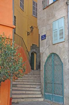 Colorful narrow step-street, Rue Courte, Grasse.