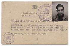 Press card for Robert Capa in Barcelona, January 8, 1939 The Robert Capa and Cornell Capa Archive