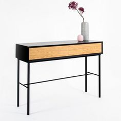 Console minimaliste noir et tiroirs chêne naturel – Mobilier design scandinave - Loftboutik Decor, Furniture, Console, Table, Entryway Tables, Home Decor, Office Desk, Entryway, Desk