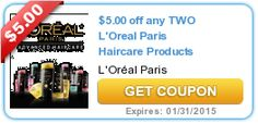 HOT New Coupon! $5/2 L'Oreal Paris Haircare Products!