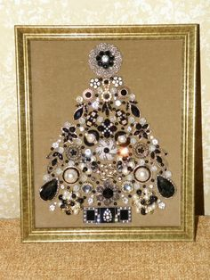 "One-of-a-Kind Framed Vintage Jewelry Art Christmas Tree Handcrafted ""Black Ice"" 