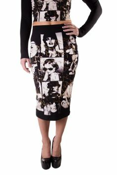 Cemi Ceri Women's Gold Writing and Face Print Pencil Skirt