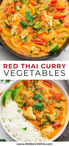 This Vegan Thai Red Curry tastes better than anything you& get from a restaurant, and is totally customizable depending on what vegetables you have on hand. Ready in about 30 minutes. Tasty Vegetarian Recipes, Vegetarian Curry, Vegan Dinner Recipes, Vegan Dinners, Veggie Recipes, Indian Food Recipes, Asian Recipes, Whole Food Recipes, Cooking Recipes