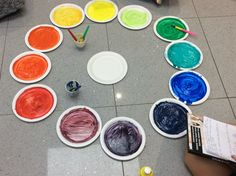 Creating the colour wheel to help with the understanding of how colour works. www.experienceeducation.academy