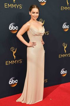 2016 Emmys: Emilia Clarke in a nude strapless Atelier Versace gown with delicate diamond jewelry