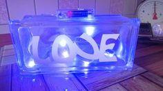 Lampe aus Glasbaustein