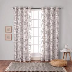 Branches Linen Blend Grommet Top Window Curtain Panel Pair - Exclusive Home™ : Target