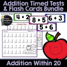 Addition Timed Tests & Flash Cards Bundle- Math Fact Fluency Program- Adding Within with student and teacher record charts Addition Flashcards, Addition Worksheets, Second Grade Math, 4th Grade Math, Multiplication Timed Test, Math Fact Fluency, Addition Facts, Common Core Math, Math Facts
