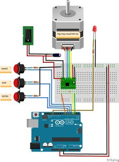 How to pilot a stepper motor with Arduino and the driver. Nrf24l01 Arduino, Arduino Class, Arduino Board, Arduino Programming, Arduino Projects, Electronics Projects, Arduino Stepper Motor Control, Cnc Software, Electronic Workbench