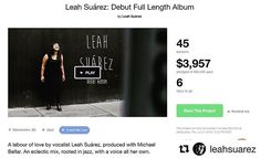 RG @delaluzglobal @leahsuarez.  ONE WEEK AND COUNTING FRIENDS! Really proud and GRATEFUL above all to see the growth and commitment of friends family and even strangers to my Kickstarter campaign! In one day My campaign grew from 7 to 13% FUNDED ADDING 10 BACKERS and $1840. This means that so far we've raised $3957 of our $30000 goal to date with 45 BACKERS! And MANY THANKS to our FIRST $1000 patron! And we added another $500 Backer to the mix as well! Looks like I've got some singing…