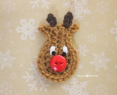 I got an e-mail the other day from someone asking for help with a reindeer appliqué. I loved the idea and decided I would see if I could come up with something. Little rudolph works up in only 2 rounds (minus the embellishments) and you can use a button nose like I did or feel …