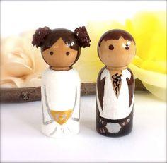 Home › CreativeButterflyXOX › Wood Wedding Cake Topper  Princess Leia Hans Solo Star Wars Wedding Cake Topper Bride Groom Custom Wooden peg doll