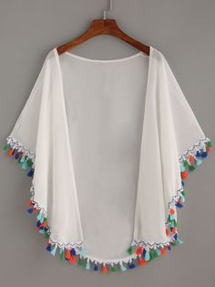Discover thousands of images about Shop White Tassel Trimmed Chiffon Kimono online. SheIn offers White Tassel Trimmed Chiffon Kimono & more to fit your fashionable needs.Size Available: one-size Length(cm): Sleeve Length(cm): Bust(cm): Fabric: Fabric Chiffon Kimono, Chiffon Tops, White Chiffon, Kimono Shrug, Kimono Blouse, Frill Blouse, Diy Fashion, Fashion Dresses, Fashion Design