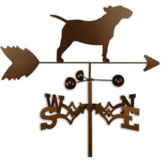 This weathervane is handmade of strong 14-gauge steel with a sealed ball bearing in the wind cups. The weathervane is coated with copper-colored powder coat paint, and features a Bull Terrier dog. Col
