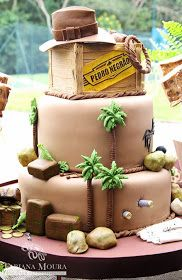 Fabiana Moura - Projetos Personalizados: Festa Indiana Jones Indiana Jones Birthday Party, New Birthday Cake, Safari Birthday Party, Birthday Parties, 9th Birthday, Birthday Ideas, Torta Indiana Jones, Indiana Jones Films, Lego Indiana Jones
