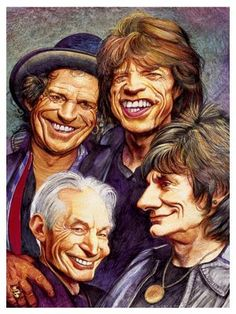 The Rolling Stones Funny Caricatures, Celebrity Caricatures, Rock Posters, Concert Posters, Pink Floyd, Rock And Roll, Black Sabbath, Historia Do Rock, Rolling Stones Logo