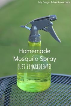 Homemade Mosquito Spray- so easy just 3 ingredients! No harsh chemicals, no sticky feeling on your skin and the fragrance is much nicer then what you find in the store.