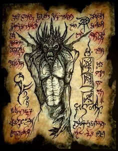 Demonology V by MrZarono on DeviantArt Necronomicon Lovecraft, Lovecraft Cthulhu, Hp Lovecraft, Dark Spells, Dark Books, Lovecraftian Horror, Satanic Art, Dark Artwork, Magic Symbols