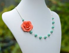 FREE EARRINGS Coral Orange Rose and Jade Green Swarovski Pearls Necklace, Coral and Mint Green Flower necklace, Bridesmaid Necklace