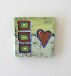 Acrylic Miniature Abstract Painting Red Heart on a por BrookeHowie