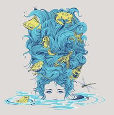 Wouldn't work for an underwater scene, but I like the sea creatures all stuck in her hair