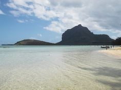 Le Morne mountain seen from Le Morne village on the south west coast of Mauritius.