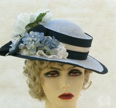 Edwardian Spring Summer Hat in Blue by Vintage Style Hats by Gail, via Flickr