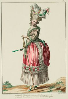"""A Most Beguiling Accomplishment: Galerie des Modes, 9e Cahier, 5e Figure (1778). Caption & long description translated by @Cassidy. """"Elegant bourgeoise walking in the Country, dressed in a morning Polonaise with a Cap in the new taste... The Mantelet is a type of little overcoat or light drapery, intended to cover the upper part of the body; it is kept out of the formal parure, but it has become so favored that one is accustomed to see it as an essential part of Ladies' clothing. Taffeta…"""