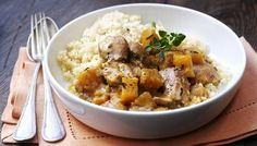 Slow cooker chicken and butternut squash stew. Serve with couscous or mash.
