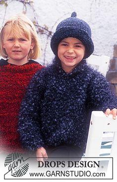 "DROPS 63-22 - DROPS Kinderpulli in ""Puddel und Mütze in ""Ull-Bouclé"" und ""Alaska"""