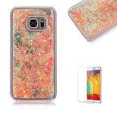 Galaxy+S7+Edge+Glitter+Case,Funyye+Fashion+Creative+Design+Flowing+Liquid+Floating+Luxury+Bling+Glitter+Sparkle+Diamond+Protective+Shell+for+Samsung+Galaxy+S7+Edge-Orange