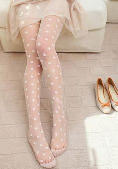 Dotty Sheer Tights in White