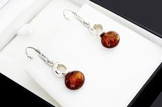 Sterling 925 Silver And Amber Earrings Baltic Amber